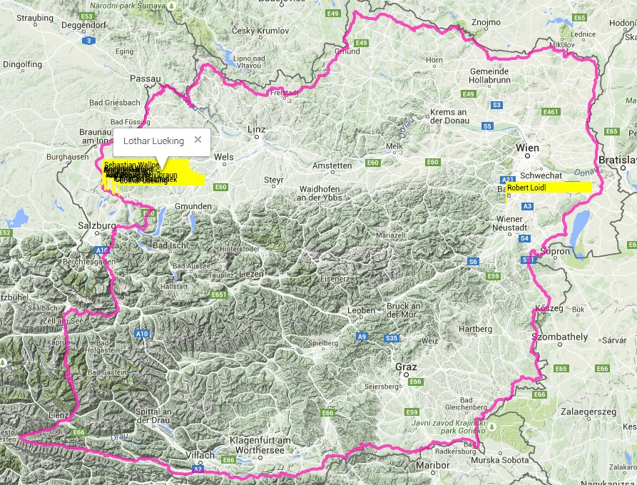 Strecke Race Around Austria 1500 km